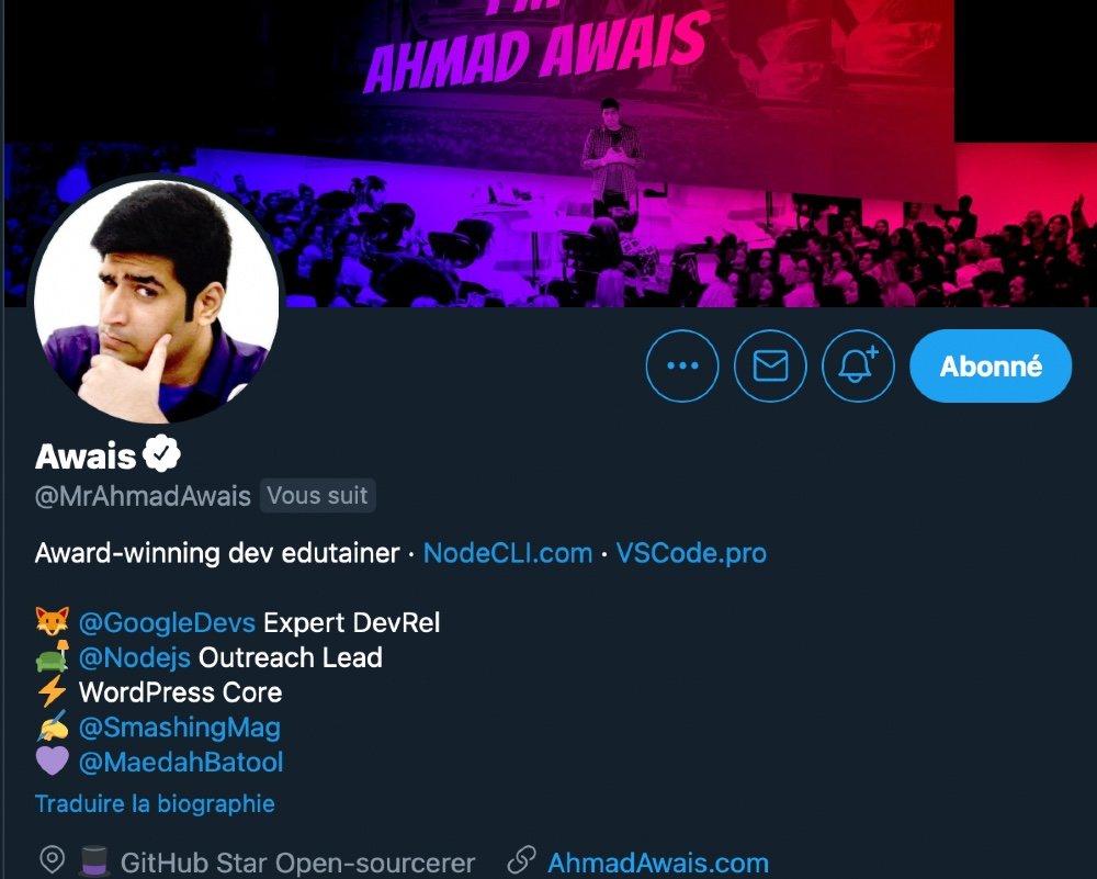 Ahmad Awais Twitter profile