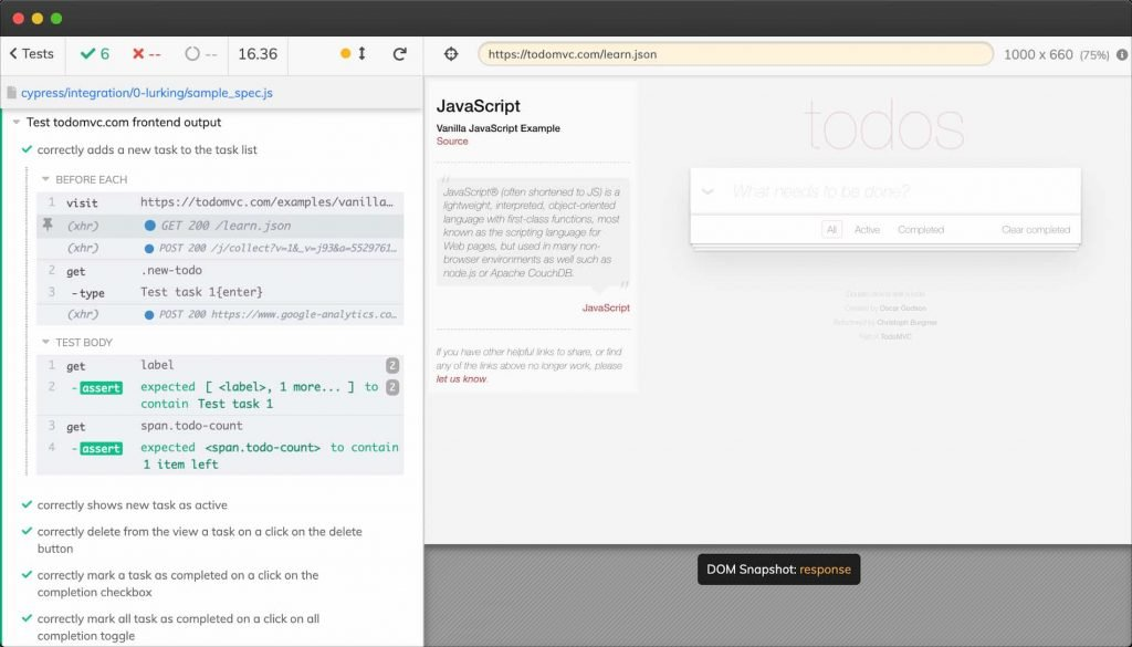 Interface d'exécution de tests de Cypress